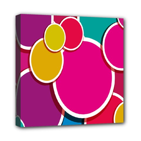 Paint Circle Red Pink Yellow Blue Green Polka Mini Canvas 8  x 8