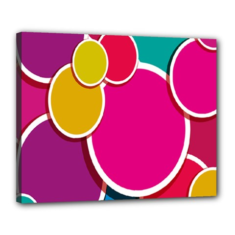 Paint Circle Red Pink Yellow Blue Green Polka Canvas 20  x 16