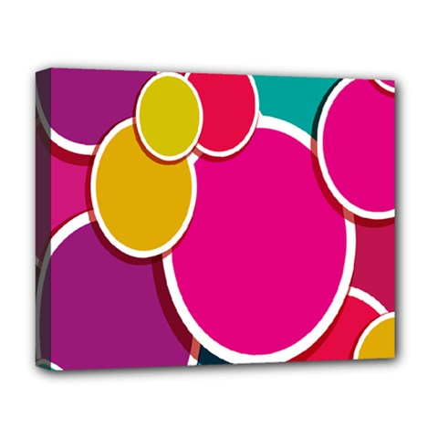 Paint Circle Red Pink Yellow Blue Green Polka Deluxe Canvas 20  x 16