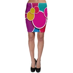 Paint Circle Red Pink Yellow Blue Green Polka Bodycon Skirt