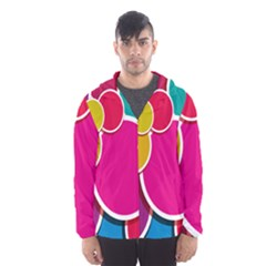 Paint Circle Red Pink Yellow Blue Green Polka Hooded Wind Breaker (Men)
