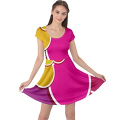 Paint Circle Red Pink Yellow Blue Green Polka Cap Sleeve Dresses