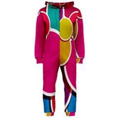 Paint Circle Red Pink Yellow Blue Green Polka Hooded Jumpsuit (Ladies)