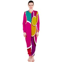 Paint Circle Red Pink Yellow Blue Green Polka OnePiece Jumpsuit (Ladies)