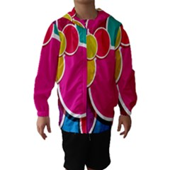 Paint Circle Red Pink Yellow Blue Green Polka Hooded Wind Breaker (Kids)