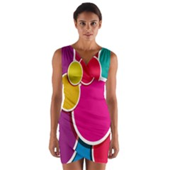 Paint Circle Red Pink Yellow Blue Green Polka Wrap Front Bodycon Dress