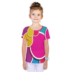 Paint Circle Red Pink Yellow Blue Green Polka Kids  One Piece Tee