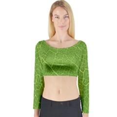 Green Leaf Line Long Sleeve Crop Top