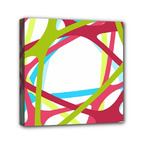 Nets Network Green Red Blue Line Mini Canvas 6  x 6