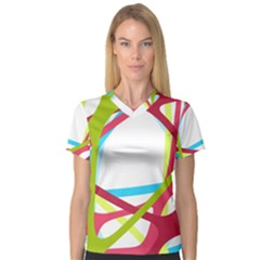 Nets Network Green Red Blue Line Women s V-Neck Sport Mesh Tee