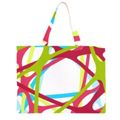 Nets Network Green Red Blue Line Large Tote Bag