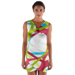 Nets Network Green Red Blue Line Wrap Front Bodycon Dress