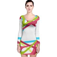 Nets Network Green Red Blue Line Long Sleeve Velvet Bodycon Dress