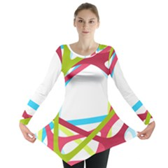 Nets Network Green Red Blue Line Long Sleeve Tunic