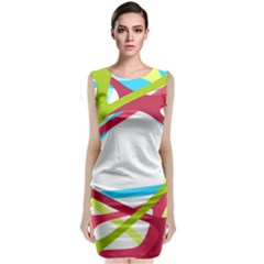 Nets Network Green Red Blue Line Classic Sleeveless Midi Dress