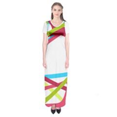 Nets Network Green Red Blue Line Short Sleeve Maxi Dress