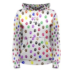 Paw Prints Dog Cat Color Rainbow Animals Women s Pullover Hoodie