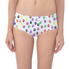 Paw Prints Dog Cat Color Rainbow Animals Mid-Waist Bikini Bottoms