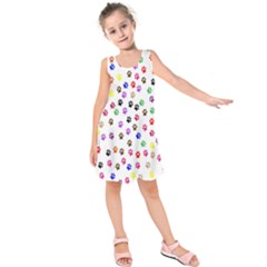 Paw Prints Dog Cat Color Rainbow Animals Kids  Sleeveless Dress