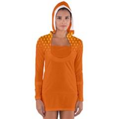 Orange Star Space Women s Long Sleeve Hooded T Shirt