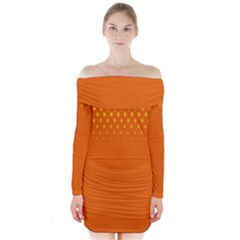 Orange Star Space Long Sleeve Off Shoulder Dress