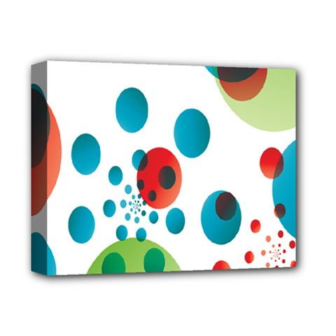 Polka Dot Circle Red Blue Green Deluxe Canvas 14  x 11