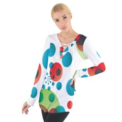 Polka Dot Circle Red Blue Green Women s Tie Up Tee