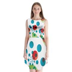 Polka Dot Circle Red Blue Green Sleeveless Chiffon Dress