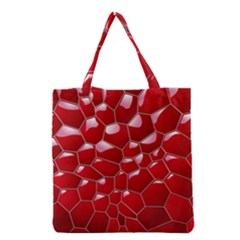 Plaid Iron Red Line Light Grocery Tote Bag