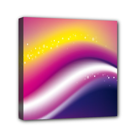 Rainbow Space Red Pink Purple Blue Yellow White Star Mini Canvas 6  x 6