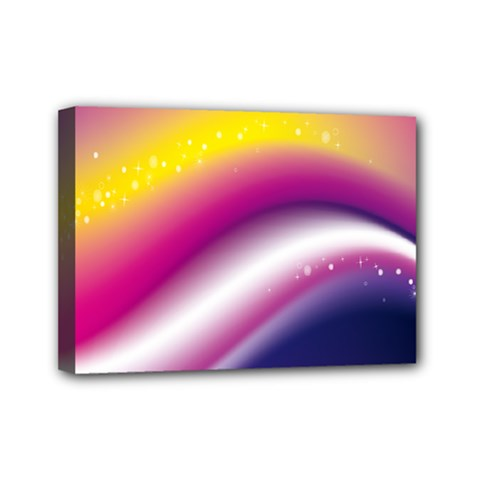 Rainbow Space Red Pink Purple Blue Yellow White Star Mini Canvas 7  x 5