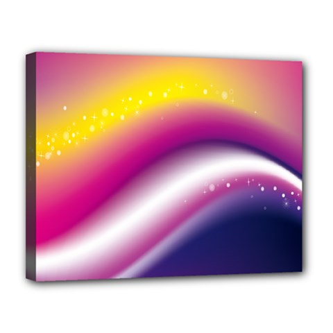 Rainbow Space Red Pink Purple Blue Yellow White Star Canvas 14  x 11