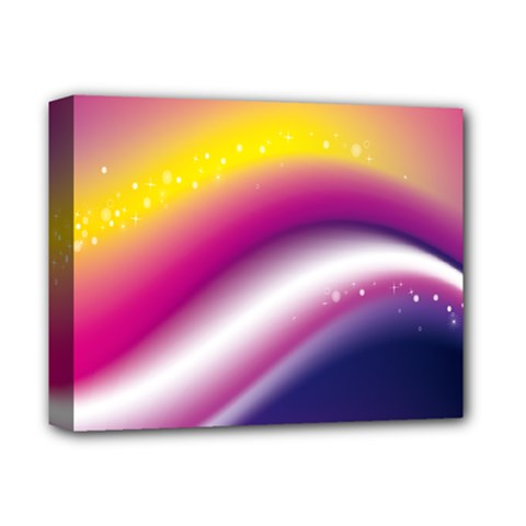 Rainbow Space Red Pink Purple Blue Yellow White Star Deluxe Canvas 14  x 11