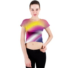 Rainbow Space Red Pink Purple Blue Yellow White Star Crew Neck Crop Top