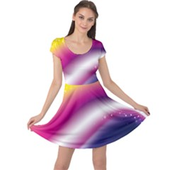 Rainbow Space Red Pink Purple Blue Yellow White Star Cap Sleeve Dresses