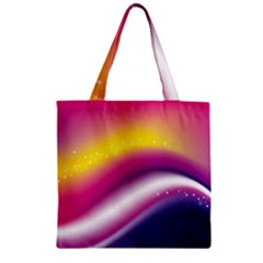 Rainbow Space Red Pink Purple Blue Yellow White Star Zipper Grocery Tote Bag