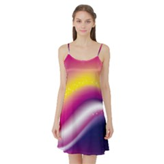 Rainbow Space Red Pink Purple Blue Yellow White Star Satin Night Slip