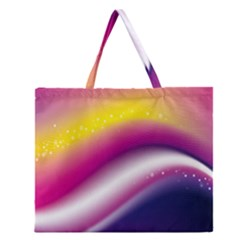 Rainbow Space Red Pink Purple Blue Yellow White Star Zipper Large Tote Bag