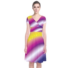 Rainbow Space Red Pink Purple Blue Yellow White Star Short Sleeve Front Wrap Dress