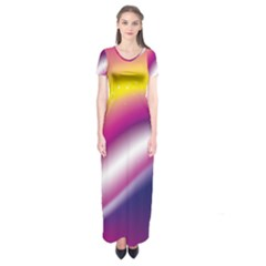Rainbow Space Red Pink Purple Blue Yellow White Star Short Sleeve Maxi Dress