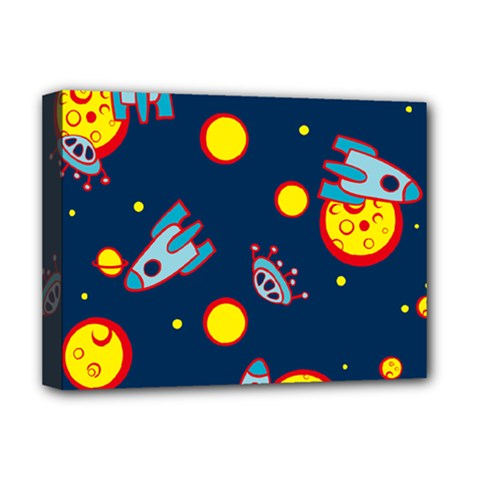 Rocket Ufo Moon Star Space Planet Blue Circle Deluxe Canvas 16  x 12