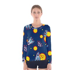 Rocket Ufo Moon Star Space Planet Blue Circle Women s Long Sleeve Tee
