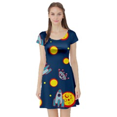 Rocket Ufo Moon Star Space Planet Blue Circle Short Sleeve Skater Dress
