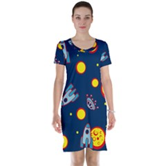 Rocket Ufo Moon Star Space Planet Blue Circle Short Sleeve Nightdress