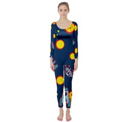 Rocket Ufo Moon Star Space Planet Blue Circle Long Sleeve Catsuit