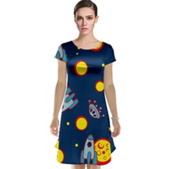 Rocket Ufo Moon Star Space Planet Blue Circle Cap Sleeve Nightdress