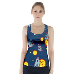 Rocket Ufo Moon Star Space Planet Blue Circle Racer Back Sports Top