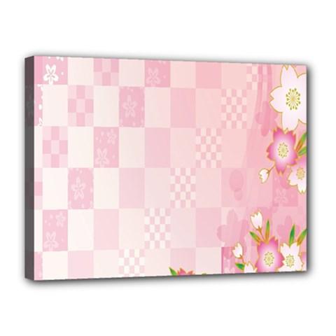 Sakura Flower Floral Pink Star Plaid Wave Chevron Canvas 16  x 12