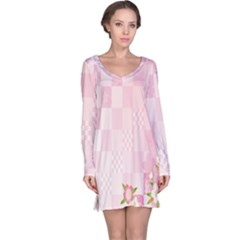 Sakura Flower Floral Pink Star Plaid Wave Chevron Long Sleeve Nightdress