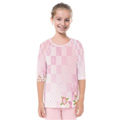 Sakura Flower Floral Pink Star Plaid Wave Chevron Kids  Quarter Sleeve Raglan Tee